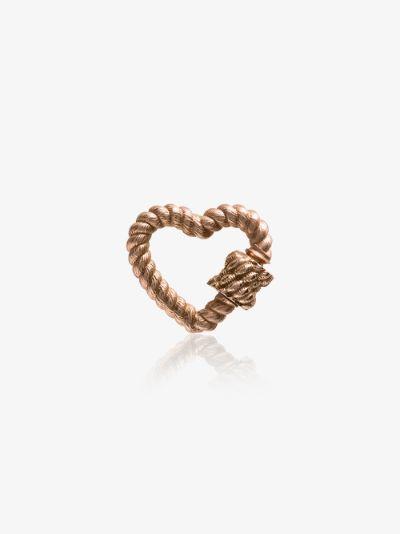 14K rose gold regular Twisted Series heart lock charm