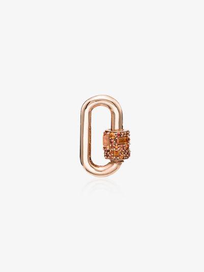 14K Rose Gold Sapphire Lock Charm