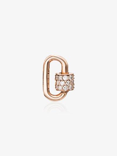 14K rose gold Stoned chubby baby diamond lock charm
