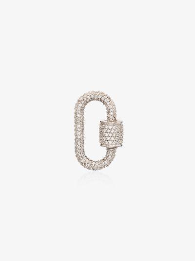 14K White Gold Allstoned regular diamond lock charm