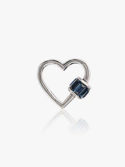 14K white gold Total Baguette Baby sapphire heart lock charm