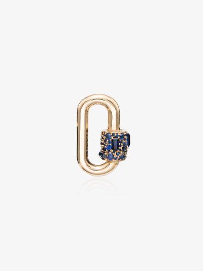14K Yellow Gold Chubby medium sapphire lock charm