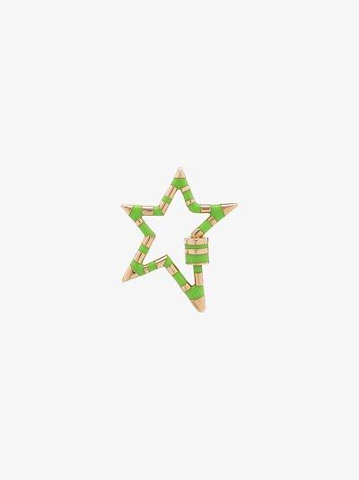 14K yellow gold large striped enamel star lock charm