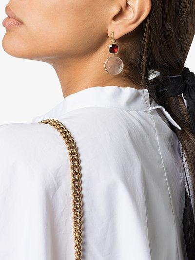 14K yellow gold pearl garnet earring charm