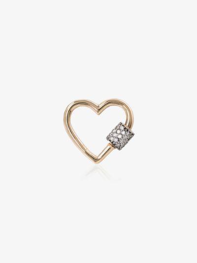 14K Yellow Gold Stoned Baby Diamond Heart lock charm
