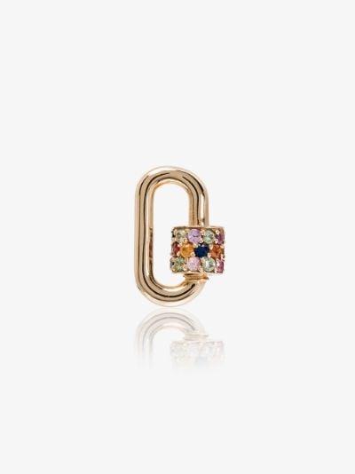14K Yellow Gold Stoned Chubby Baby Sapphire lock charm