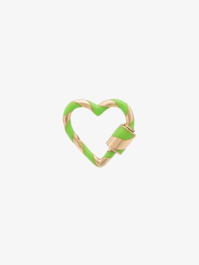 14K yellow gold striped enamel heart lock charm
