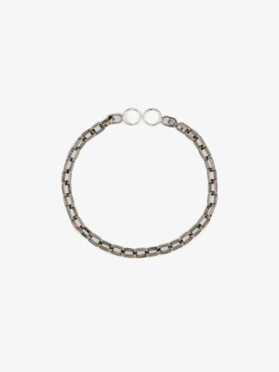 18K white gold and sterling silver biker chain 7 inch bracelet