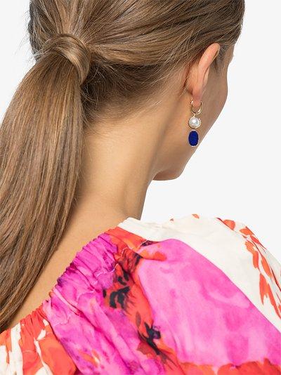 18K yellow gold lapis lazuli earring charm