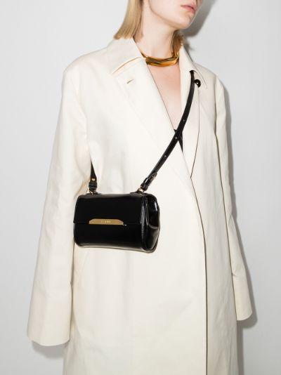 black Corinne leather cross body bag