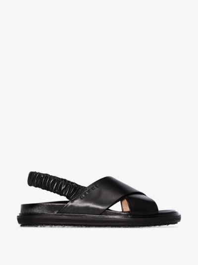 black cross strap leather sandals