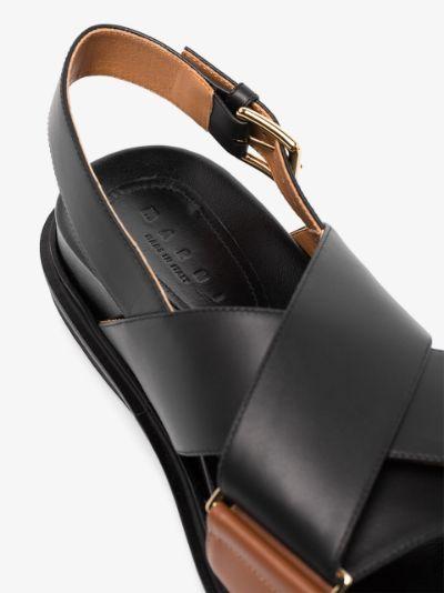 black Fussbett leather sandals