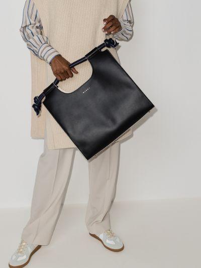 Black Marcel knot leather tote bag