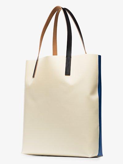 blue logo print PVC tote bag