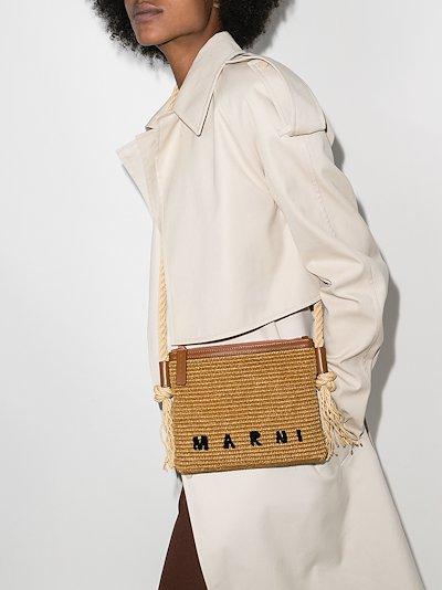 brown logo raffia shoulder bag