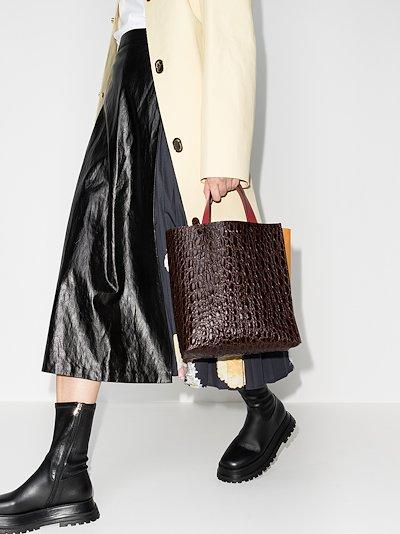 brown Museo mock croc leather tote bag