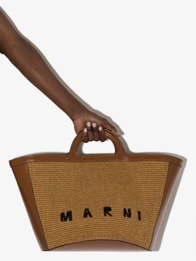 brown tropicalia large woven tote bag