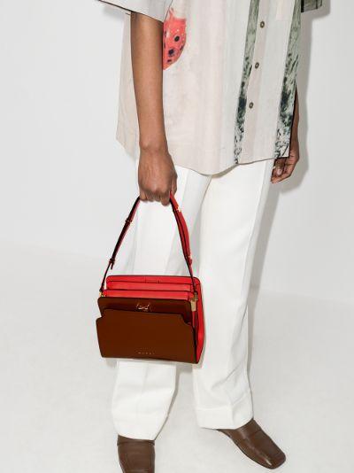 Brown Trunk Reverse Leather Shoulder Bag