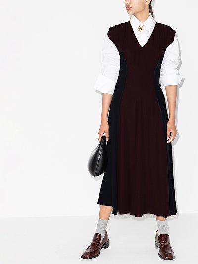 cap sleeve panelled midi dress