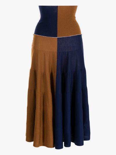 Colour block wool skirt
