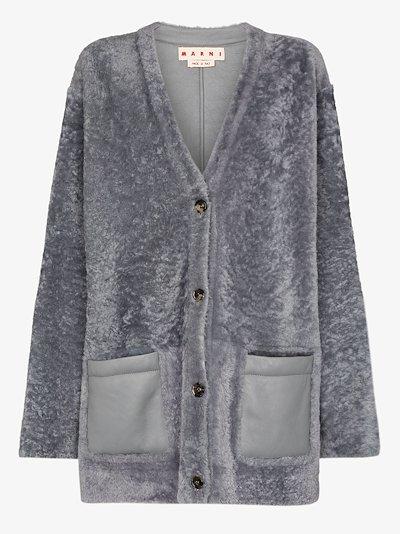 contrast pocket shearling cardigan