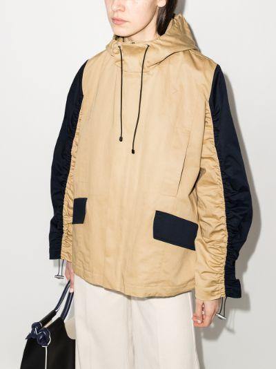 Contrast Sleeve Hooded Jacket
