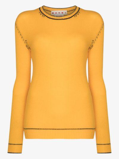 contrast stitch cashmere sweater