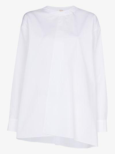 front pleat cotton poplin blouse