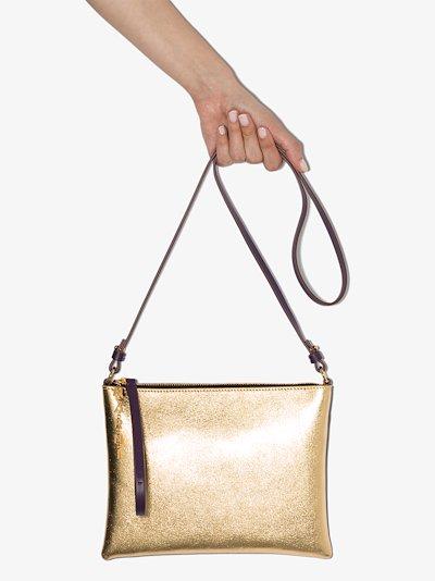 gold metallic leather pouchette cross body bag