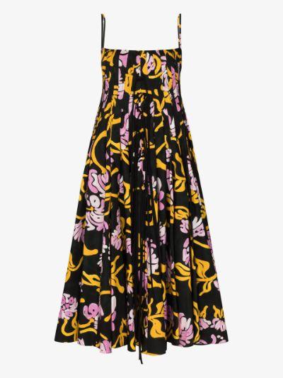 graphic-print pleated midi dress