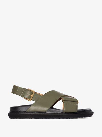 green Fussbett leather sandals