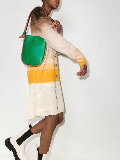 green Marcel knot leather shoulder bag