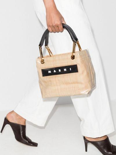 Neutral coated raffia logo tote bag