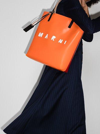 Orange Logo Print Tote Bag