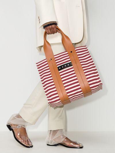 red Burton striped canvas tote bag