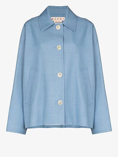 ruffle back button-down jacket