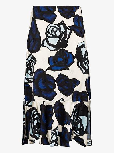 ruffled floral print skirt