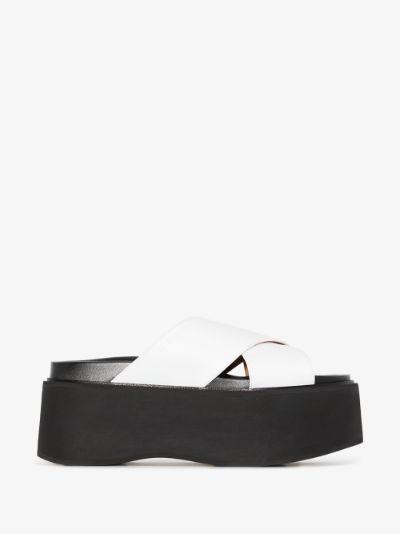 white platform leather sandals
