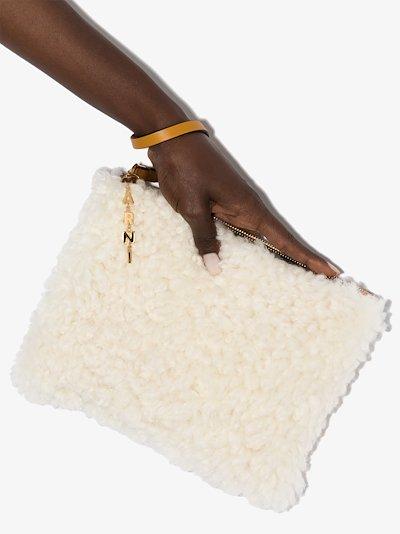 white shearling pochette clutch bag