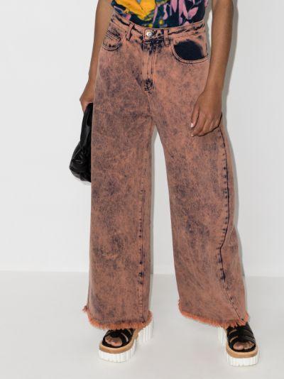 acid wash wide leg jeans