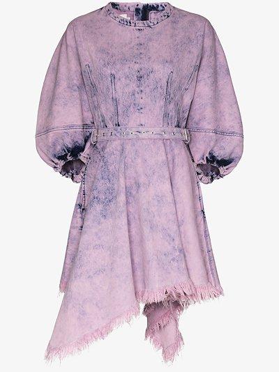 asymmetric acid wash mini dress