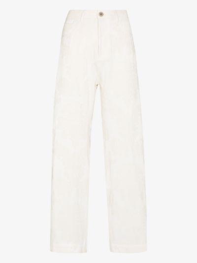 jacquard wide leg jeans
