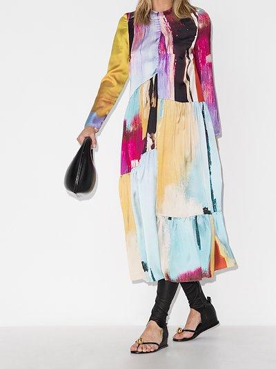 panelled long sleeve dress