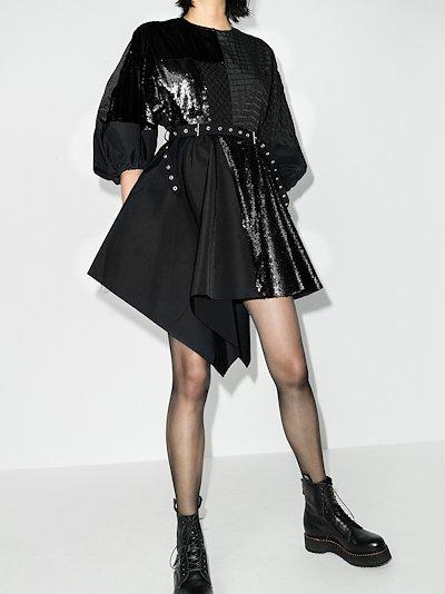 ReM'Ade Asymmetric Sequin Patchwork Dress
