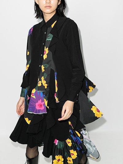 reM'Ade godet mixed print shirt