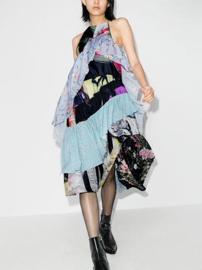 reM'Ade halterneck patchwork frill midi dress