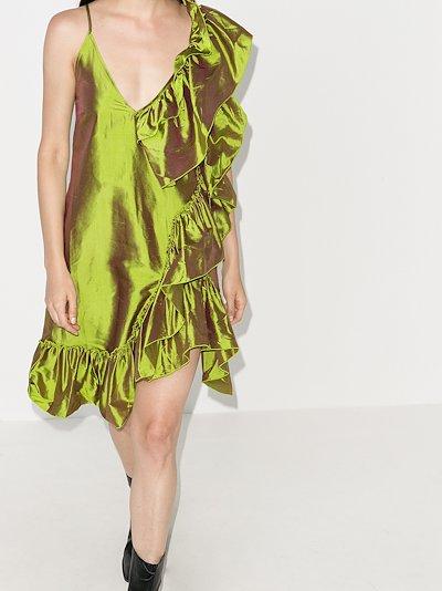 ruffled metallic silk dress