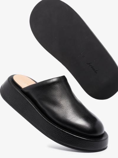 black flatform leather mules