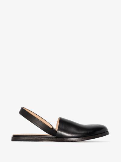 Black Marcella Slingback Leather Sandals