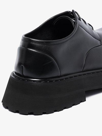 Black micarro leather derby shoes